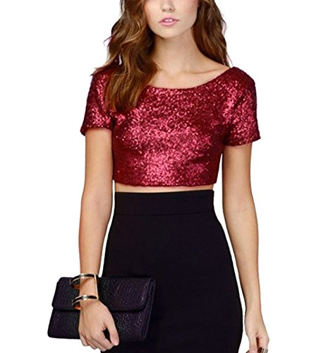 RARITY-US Women's Fashion Dazzling Sparkle Sequins Backless Crop Top Summer Short Sleeve T-Shirt Sexy Clubwear - Red Glitter Top