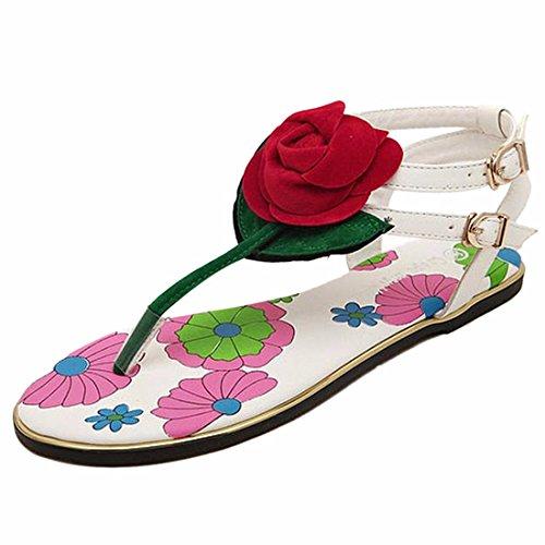 Cheville Blanc Femmes Chiquenaude A Bretelles Chaussures Fleur Bout Z D'Ete Talons Roma Plats Ouvert QIYUN Sexy Flops CaOvqwwX