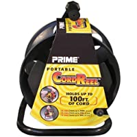 Prime CR003000 Portable Cord Reel with Metal Stand, Black, Holds 100-Ft of Cord by Prime