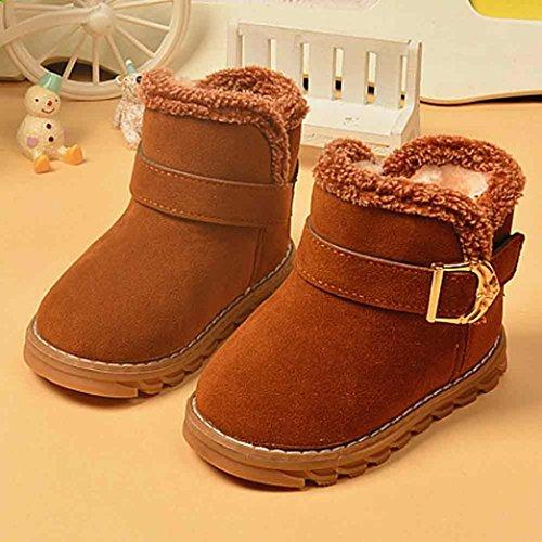 OverDose Unisex-Baby Winter Baby Kind Art Baumwoll Stiefel Warme Weiche Gummisohle Schnee Aufladungen mit Baumwolle Braun-Baumwolle