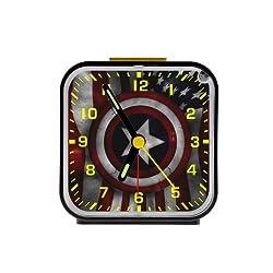 High Quality Custom Captain america shield and american flag Square Black Alarm Clock