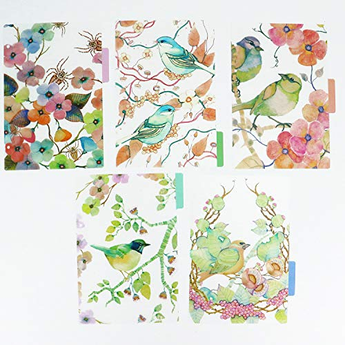 JETEHO 10 Pcs / 2 Sets A5 Binder Index Dividers Birds Translucent Index Dividers Category Page Tabs Indexing Cards Match for Standard A5 Size 6-Ring Planners