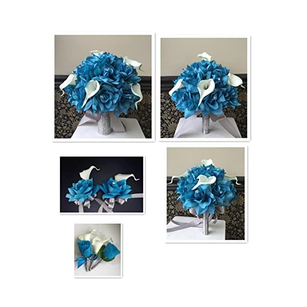Angel Isabella 13pc Wedding Bridal Party Flowers Turquoise Malibu Real Touch Calla Lily