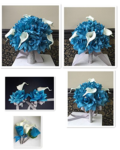 13pc-wedding-bridal-party-flowers-Turquoise-Malibu-Real-Touch-calla-lily