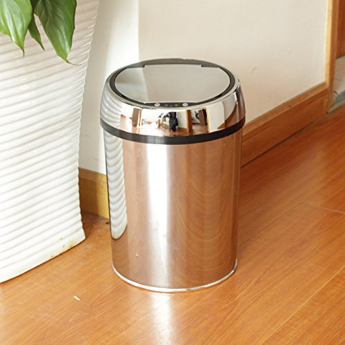 Mirror stainless steel induction dustbin pail 9L intelligent infrared sensor trash can 240x high 350mm,B+ with charging function by Vory