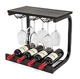 SODUKU Wine Rack Wall Mounted Handmade Metal & Wood Wine Countertop Rack Wine Storage Shelf with 4 Bottle Cages & 6 Long Stem Glass Espresso