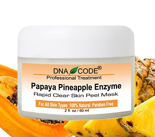DNA Code-20% Papaya Pineapple Glycolic Enzyme Clear Skin Mask Peel w/Argireline, Hyluronic Acid, Glycolic Acid, Vit. C, E, CoQ10 - Enzyme Peel Mask