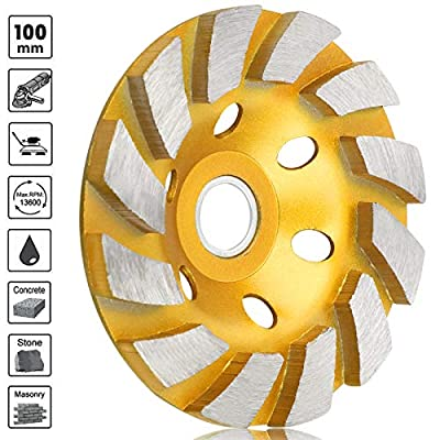 "Sunjoyco 4"" Diamond Cup Grinding Wheel, 12-Segment Heavy Duty Turbo Row Concrete Grinding Wheel Disc for Angle Grinder, for Granite, Stone, Marble, Masonry, Concrete"