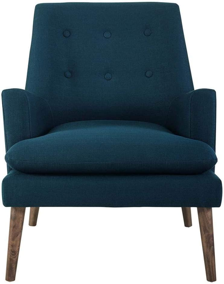 Modway Leisure Mid-Century Modern Upholstered Fabric Lounge Accent Chair in Azure