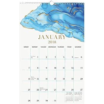 2018 Watercolor Foil Wall Calendar