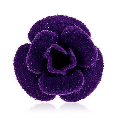 Winter's Secret Fashion Purple Cloth Felt Brooch Handmade Camellia Flower Lapel Pin Sleeve - Print For Chrome Hp