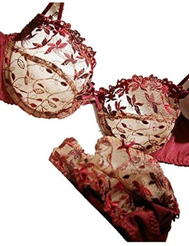 LaiGouMai Women Sexy Underwear Transparent Embroidery Lace Bra Sets