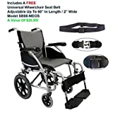 """Karman S-115F18SS-TP - 18"""" Seat Width, Ergonomic Transport Wheelchair, Model S-Ergo 115,Fixed Wheel, Frame Color Pearl Silver, Swing In & Away footrests & FREE Wheelchair Seat Belt!"""