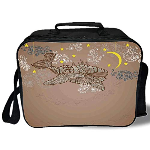 Insulated Lunch Bag,Whale Decor,Steampunk Whale Flying on Air with Moons and Stars Artistic Hand Drawing,Brown and White,for Work/School/Picnic, Grey -