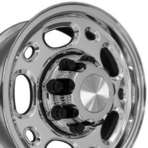 OE Wheels 16 Inch Fit GMC Chevy 2500 3500 8Lug CV82 Polished 16x6.5 Rims Hollander 5079 Cap NOT Included SET (Stock F250 Rims)