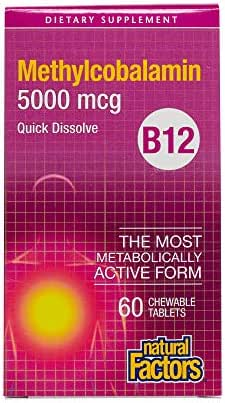 Natural Factors, Chewable Vitamin B12 Methylcobalamin 5000 mcg, Support for Energy Levels and Mental Function, 60 tablets (60 servings)