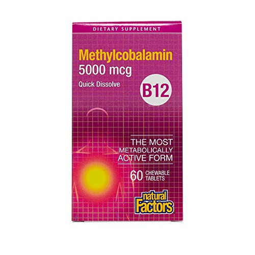 Natural Factors – Vitamin B12 Methylcobalamin 5000mcg, Support for Nerve Function, Energy Production & Red Blood Cells, 60 Chewable Tablets Review