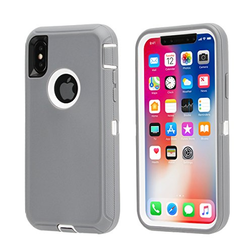 iPhone X Case,iPhone 10 Case [Heavy Duty] Defender Armor 3 in 1 Rugged Cover Full Protective Case Dust-Proof Shockproof Drop-Proof Scratch-Resistant Tough Shell (Grey/White)