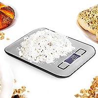 Duronic Digital Kitchen Scales KS1007 | Silver Design with Glass Platform | 5kg Capacity | LCD Backlit Display | Add &...