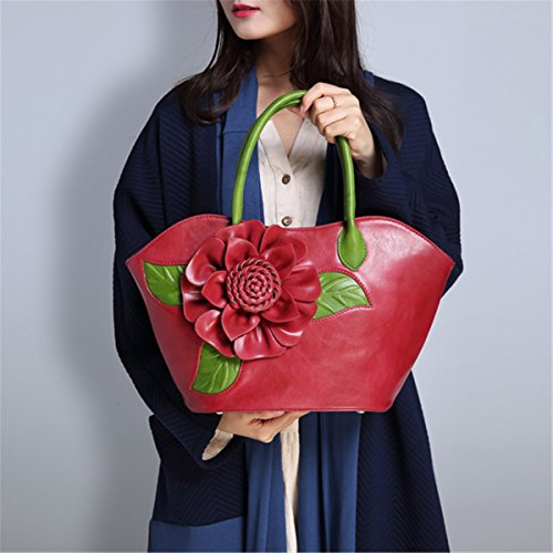 Bag Womens Ladies 3D Classic Handle Tote Leather Top Bag Green Handbag Red Flower Shoulder Bags Style RPrqwP0Fx