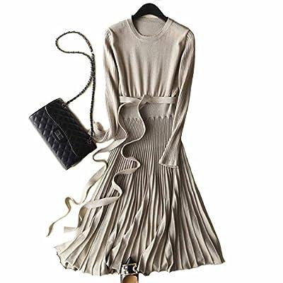 FINCATI Long Sweater Dress Autumn Winter Cashmere Belt Fitted Waist Big Swing Flared Calf Length Maxi Dresses