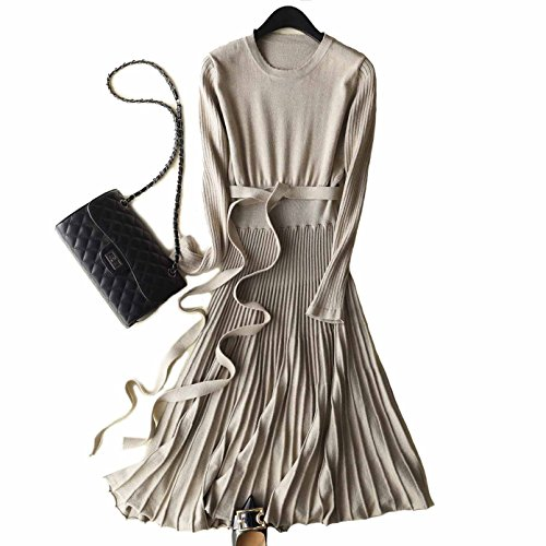FINCATI Long Sweater Dress Spring Autumn Cashmere Belt Fitted Waist Big Swing Midi Dresses