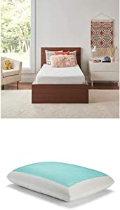 Sealy 8-Inch Twin Memory Foam Bed in a Box with CopperChill + Essentials Memory Foam Gel Cooling Pillow Set