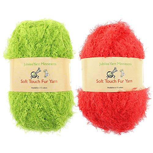 (JubileeYarn 100g Soft Touch Fuzzy Fur Yarn Packs, Lime Green and Candy Red, 2 Skeins)