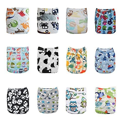 ALVABABY Reuseable Washable Pocket Cloth Diapers Nappies 12 PCS + 24 Inserts 12ZC5
