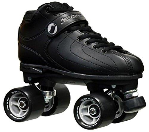 Leather Boot Jackson - New! Jackson Vibe Black on Black Quad Roller Speed Skates (Mens 8)