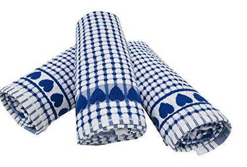 Roseberry Linen 3 Piece Love Gift, Check Print, Absorbent/Low Lint/100% Cotton Dish/Kitchen/Bleachable Towels, Blue