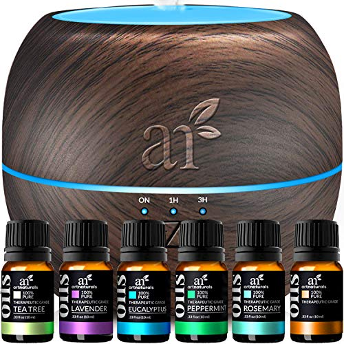 ArtNaturals Essential Oils and Diffuser Gift-Set - (400ml Tank-Dark Brown & Top 6 Oils)-Aromatherapy Peppermint, Tee Tree, Lavender & Eucalyptus-Auto Shut-off and 7 Color LED Lights-Therapeutic Grade