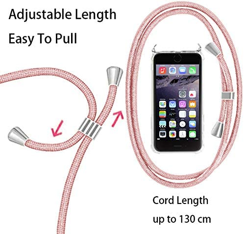 Suave TPU Case con Cuerda para Colgar Ajustable Anti Golpes Protector Case Transparente Silicona Carcasa con Cuerda para iPhone 7 RosyHeart-EU Funda para iPhone 8 Verde