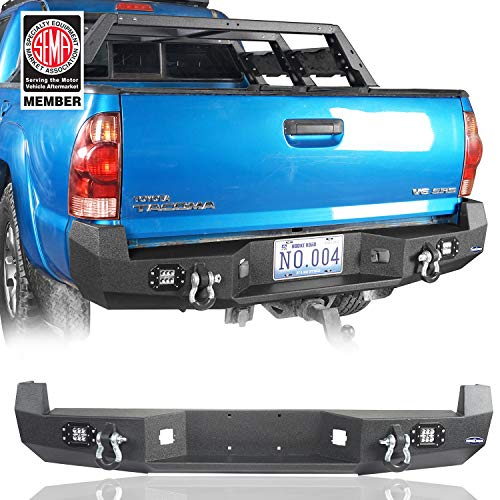Hooke Road Solid Steel Offroad Rear Bumper w/LED Lights & D-Rings for 2005-2015 2 Gen Toyota Tacoma