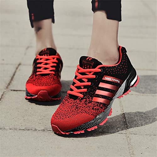 KUBUA Womens Running Shoes Trail Fashion Sneakers Tennis Sports Casual Walking Athletic Fitness Indoor and Outdoor Shoes for Women F Red Women 5.5 US/Men 4.5 M US by KUBUA (Image #5)