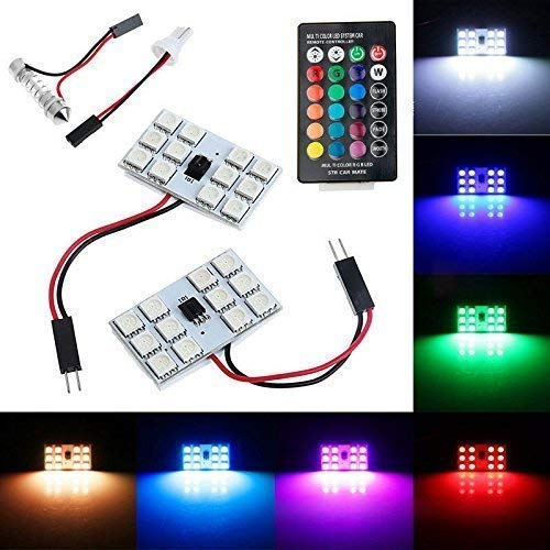 Wangsales® Universal 2 X 16 Colors RGB Auto Remote Controlled Color full interior Roof Led Lamp Decorative Led Car Roof…