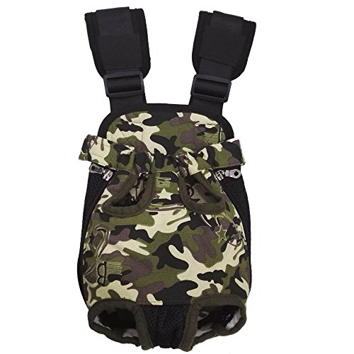 HANCIN Adjustable Dogs Backpack Carrier, Legs Out Front Cat Dog Carrier Backpack with Wide Straps and Shoulder Pads, for Walking, Travel, Hiking, Camo Pack Pet Carrier