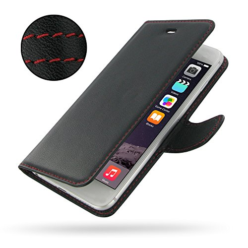 """Apple iPhone 6 Plus (5.5"""") Deluxe Leather Case / Cover Protective Phone Case / Cover (Handmade Genuine Leather) - Book Case (Black/Red Stitchings) by Pdair"""