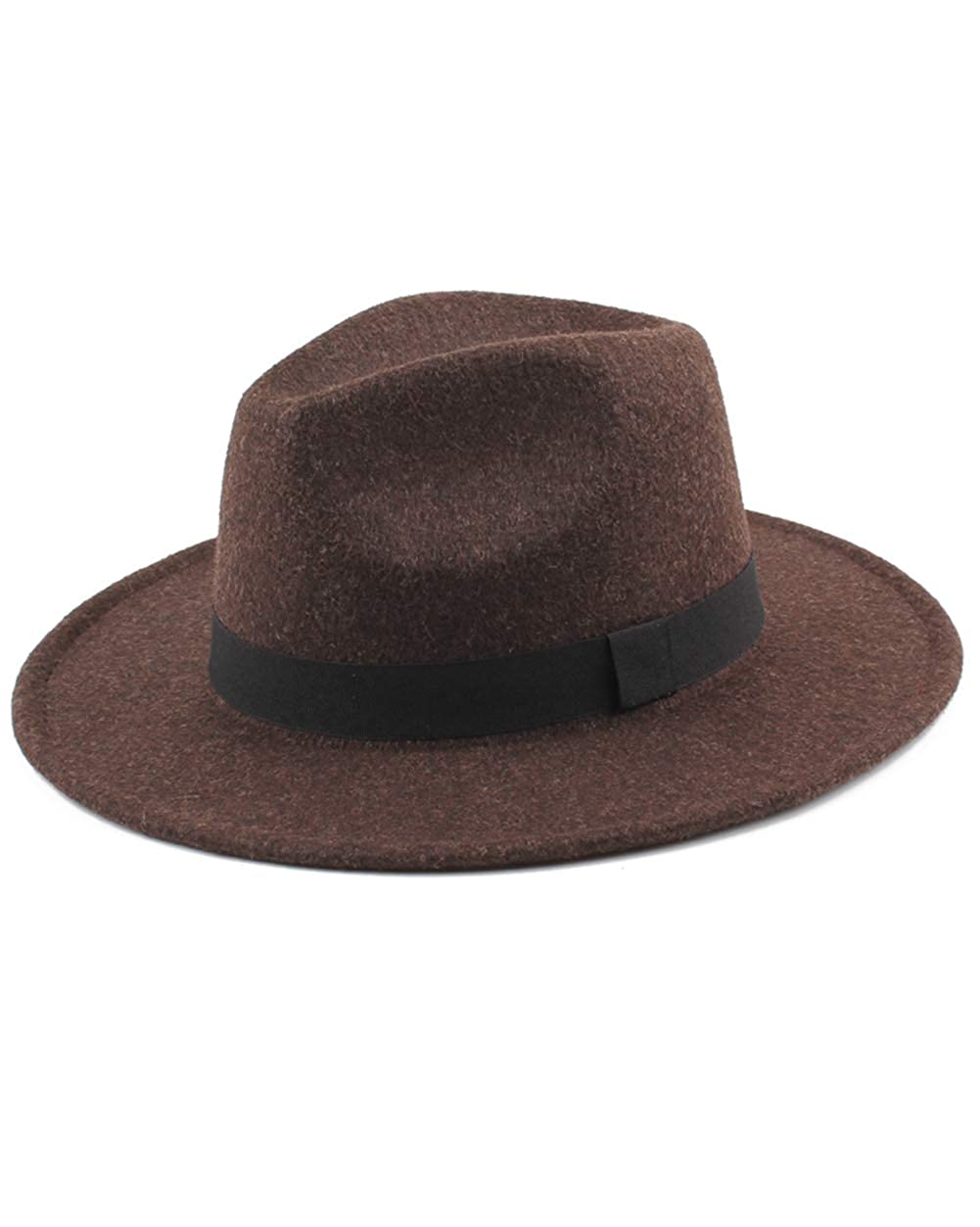 SANOMY Unisex Fedoras Hats Felt Trilby Hats Wide Brim Adjustable Fedora Jazz Caps