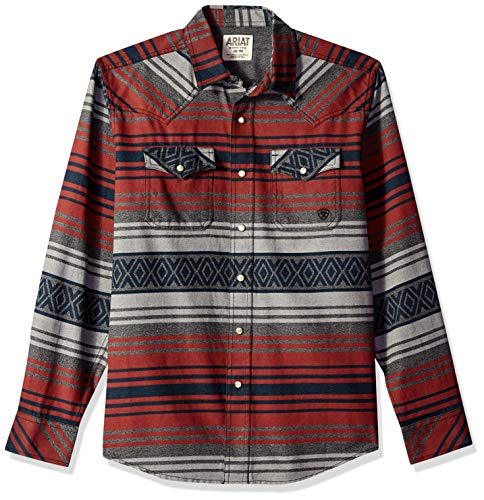 - ARIAT Men's Retro Fit Long Sleeve Snap Shirt, Waldera Granite, XXL