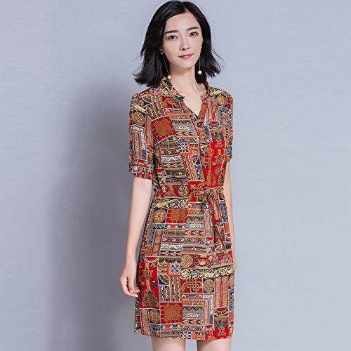XIU*RONG Imprimiendo Directamente Vestido Collar V Un Paso Falda Vestido De Seda printing