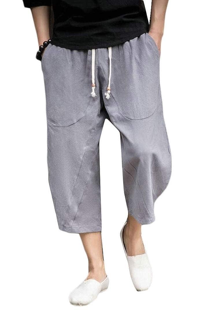 WSPLYSPJY Mens Summer Solid Patchwork Shorts Loose Linen Harem Capri Pants