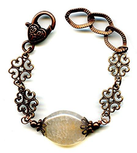 White Fire Agate Gemstone and Copper Link Bracelet Artisan Handmade Adjustable Length 6.5 to 7.5 (Agate Link)