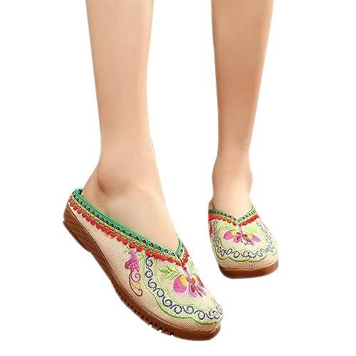 KINDOYO Zapatos de China - Zapatillas Planas Bordadas de Flores de Estilo étnico con Cabeza Redonda: Amazon.es: Zapatos y complementos