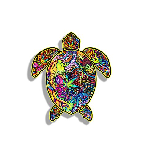 Window Turtle Decals (Sea Turtle Graffiti Bumper Sticker Decal Custom Printed Full Color Colorful Design for Car Truck Vehicle Laptop)