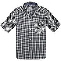 Bienzoe Boy 's Cotton Plaid Roll Up Sleeve Button Down Sports Shirts
