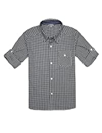 Bienzoe Boy's Cotton Plaid Roll Up Button Down Sports Shirts