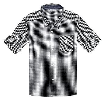 Bienzoe Boy's Cotton Plaid Roll Up Button Down Sports Shirts Black/White 3/4