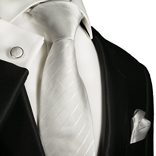 Cravate blanc ivoire rayé ensemble de cravate 3 Pièces ( 100% Soie Cravate + Mouchoir + Boutons de manchette )