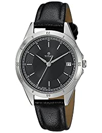 Titan Women's 'Neo' Quartz Metal and Leather Casual Watch, Color:Black (Model: 2556SL02)